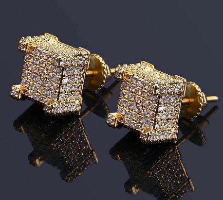 Hip Hop Stud Earrings Jewelry New Fashion Gold Silver Zircon Diamond Square Earrings