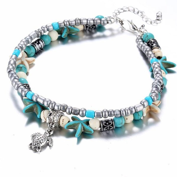 Fashion Sea Turtles Imitation Pearls Starfish Charms Bracelets Anklets For Women Bohemian Summer Foot Chain Jewelry Gifts 2B067