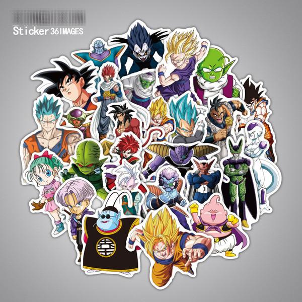 36 unids / set Dragon Ball Z Graffiti pegatina personalidad equipaje DIY pegatinas de dibujos animados PVC pegatinas de pared bolsa de accesorios regalo de los niños B001