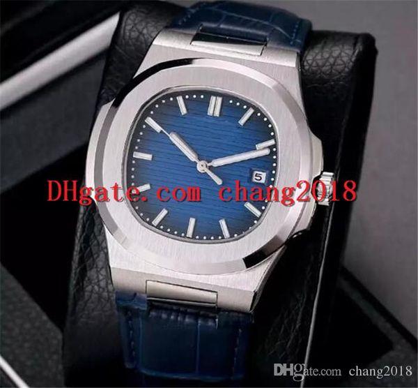 Herrenuhr automatische Luxusuhr Lederband automatische mechanische Uhr blaues Zifferblatt Edelstahl Nautilus Männer Uhren