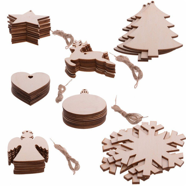 New 10Pcs/set Christmas Tree Hanging Wooden Ornaments Christmas Decorations Snowflake Star Santa Claus Boots Bells Hanging Decoration