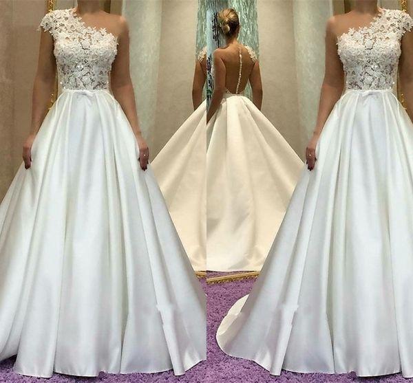 Gorgeous One Shoulder A-Line Wedding Dresses 2018 Lace Princess Bridal Gowns Long Section Off Shoulder Sheer Neck Straps WeddingGowns