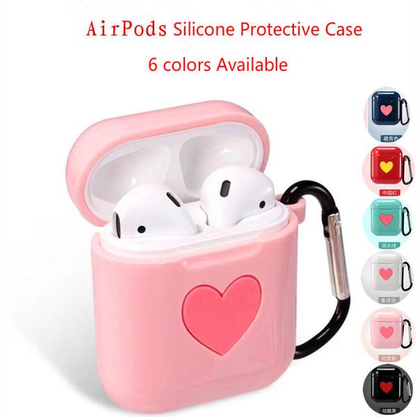 Funda de TPU Airpods, funda protectora de auriculares Bluetooth, paquete a prueba de rasguños con hebilla anti-perdida, caja de carga de Airpods TPU