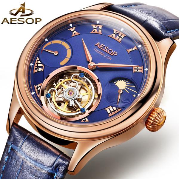AESOP luxe tourbill hommes montre mécanique montre bracelet en cuir mâle horloge poignet main vent étanche relogio masculino 31