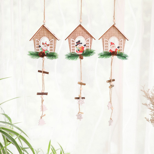 1PC Christmas House Shape Santa Claus/Snowman Wooden Pendants Ornaments Wood Material Xmas Tree Christmas DIY Decor Supplies Y18102609