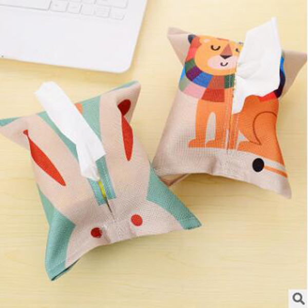 1pc Cute Paper Towel Napkin Case Pouch Cartoon Animal Pattern Napkin Holder Home Car Tissue Box For Home Decoration Servilletero