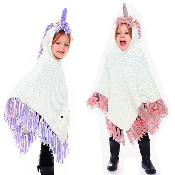 INS crianças meninos meninas borla Poncho De Malha dos desenhos animados unicórnio Com Capuz Capa Morna do inverno Xale manto para o Natal Do Bebê dress up C5411