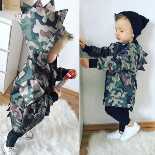 2018 Boy Clothes Toddler Kids Baby Boys Camouflage Dinosaur Long Sleeve Hooded Jacket Zipper Windproof Coat Autumn Winter Coats