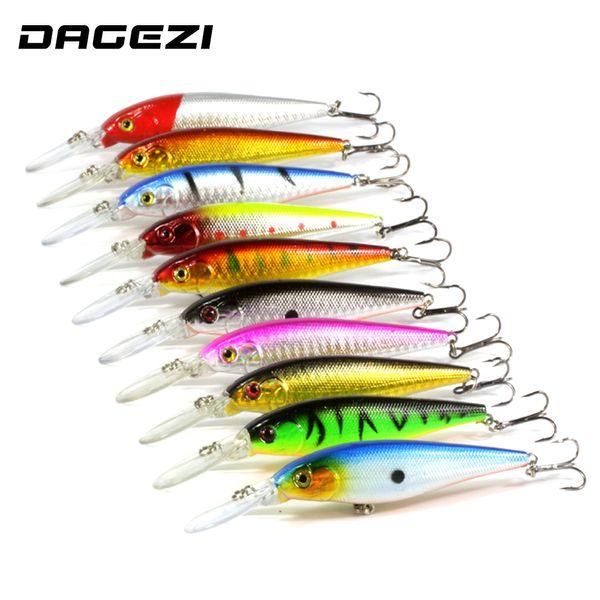 DAGEZI 10 Pcs/lot Fishing Lure 0.5-1.5M Deep Swim Hard Bait Fish11CM 9G Artificial Baits Minnow Fishing Wobbler Japan Pesca