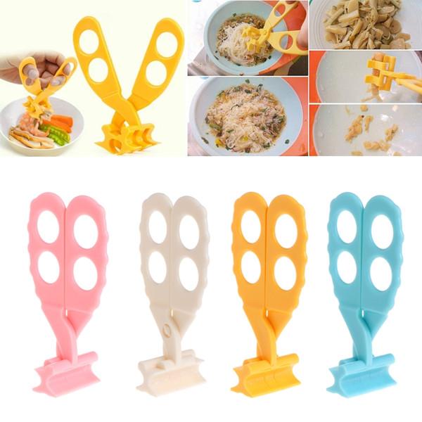 Bebê Scissors Food esmagamento de grampo com caixa de varejo Profissional de Seguro esmagamento bebê Crianças Cut Food Shears alimentação Crianças Scissors