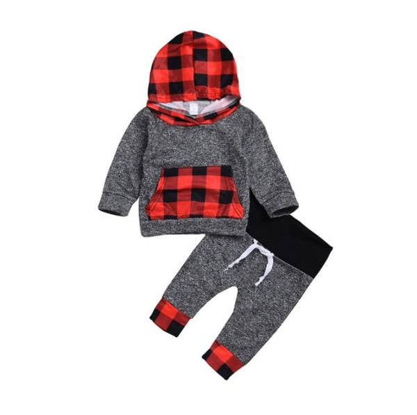 Infant Baby Girls Boy Plaid Hoodie Pant Set 2 Piece Toddler Sweatsuit Outfits