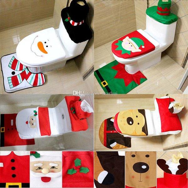4 Diseño de Decoración de Navidad 3 Unidades / Conjunto Santa Elk Elf Cubiertas de Asiento de Inodoro Rug Hotel Baño Set Regalo de Navidad Envío Gratis WX9-91
