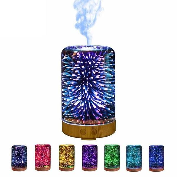 Humidificateur ultrasonique de brume de l'humidificateur 3D 16 types de couleurs de nuit de gradient de lumières humidificateurs changeants de couleur de diffuseur d'Aromatherapy