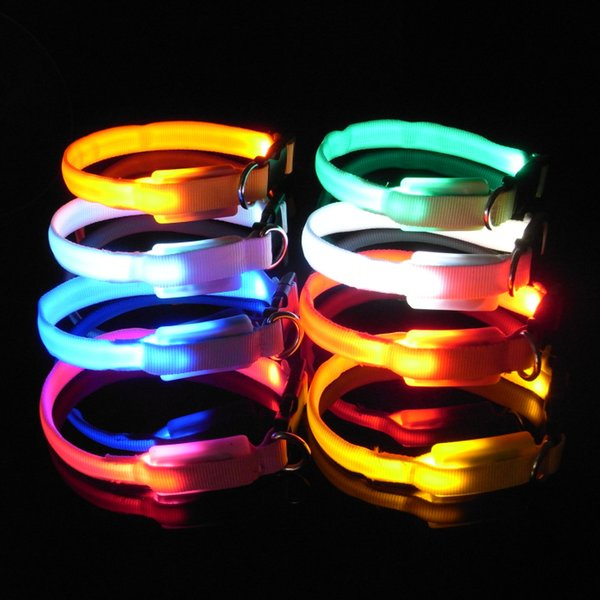 8 Colors XS Small Size Durable LED Plain Flashing Adjustable Safety Little Dog Cat Pet Puppy Collar Flash Collars High Quality FAST SHIP
