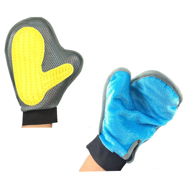 2-in-1 Pet Glove Grooming Tool +Furniture Pet Hair Remover Mitt for Cat and Dog Long or Short Fur Gentle Deshedding Brush Rubber Tips