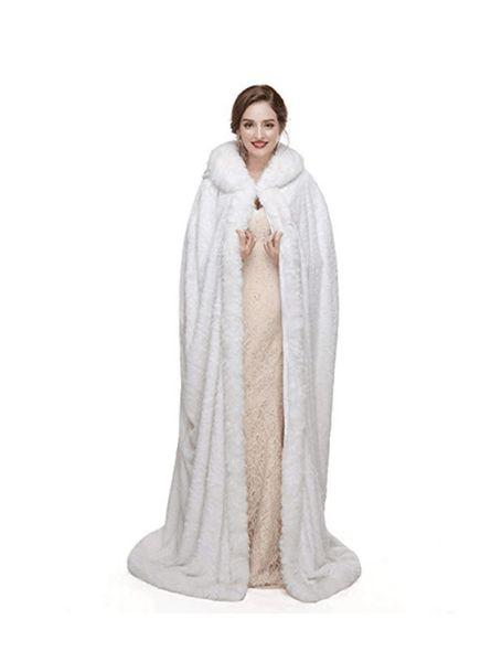 White warm women's shawl long hooded women's wedding dress jacket white package winter warm party scarf cloak