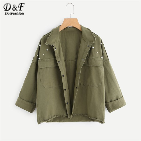 Dotfashion Pearl Beaded Cut Trim Army Green Jacket Women Autumn Roll Up Sleeve Pocket Spring Casual Plain Coat