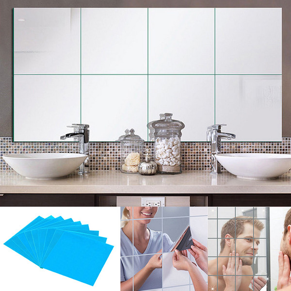 9/16/32 Pcs Mirror Tile Wall Sticker Square Self Adhesive Room Decor Stick On Modern Art XH8Z