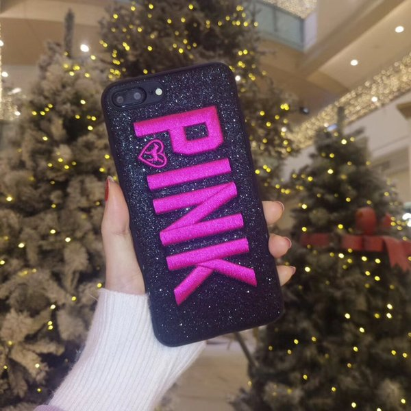 PINK Cover Fashion Design Glitter 3D Embroidery Love Pink Phone Case For iPhone X, iPhone 8, 7, 6 Plus For Samsung S9 S9 plus 9+ 100pcs DHL