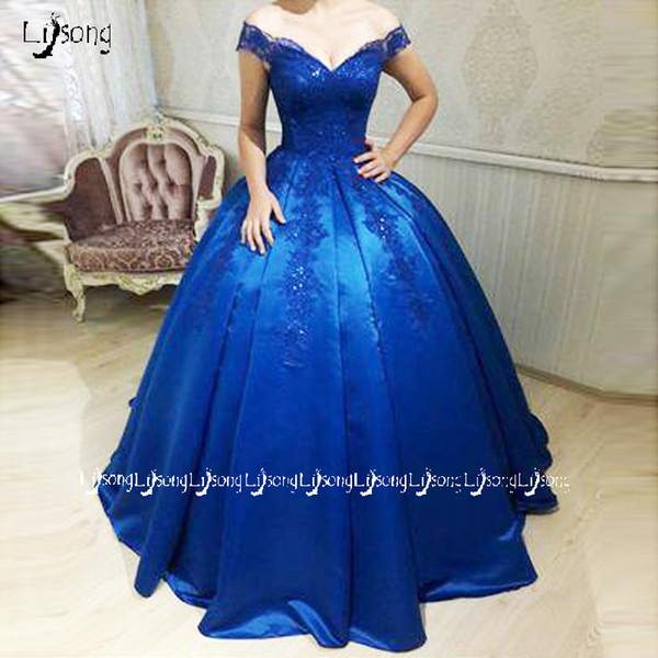 Royal Blue Evening Ball Gowns Appliques Vintage Prom Party Dress Puffy Princess Quinceanera Graduation Lady Party Wear Maxi Gown Vestidos