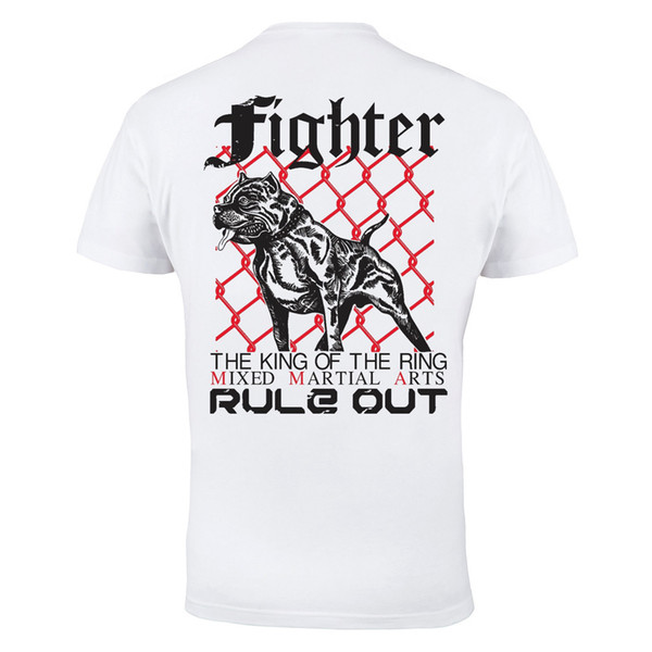 MMA Fighter Cage Fighting Martial Arts Mens White Cotton T-shirt Top Tee Shirt