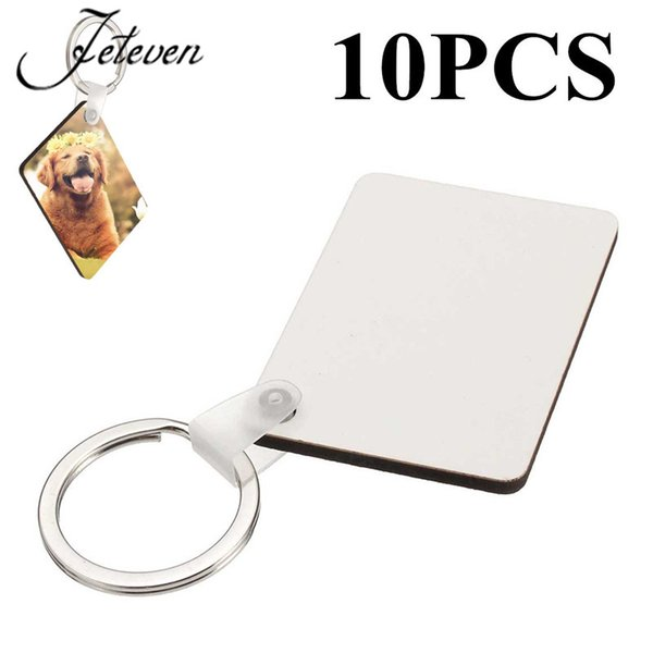 10pcs DIY Rectangle White Blank MDF Key Chain Fashion OEM Sublimation Wooden Key Rings For Heat Press Transfer Jewelry 2017 New