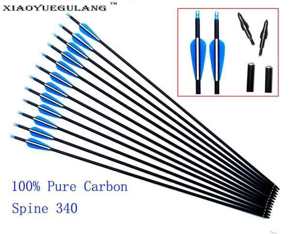 30 inch Spine 340 Pure Carbon Arrow ID 6.2mm OD 7.6mm Archery For Compound /Recurve Bow Outdoor Sport Hunting