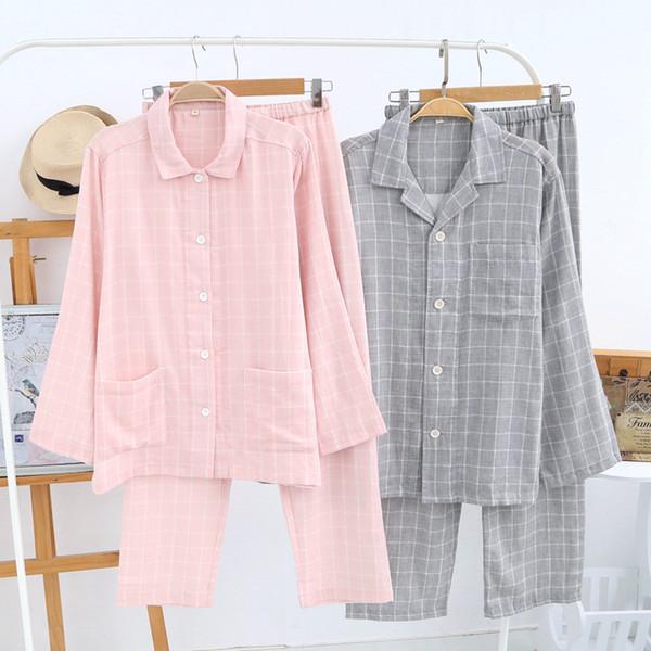 Lovers plaid 100% cotton pajamas sets men Spring casual long sleeve pajama simple plaid sleepwear pijamas mujer pyjamas men
