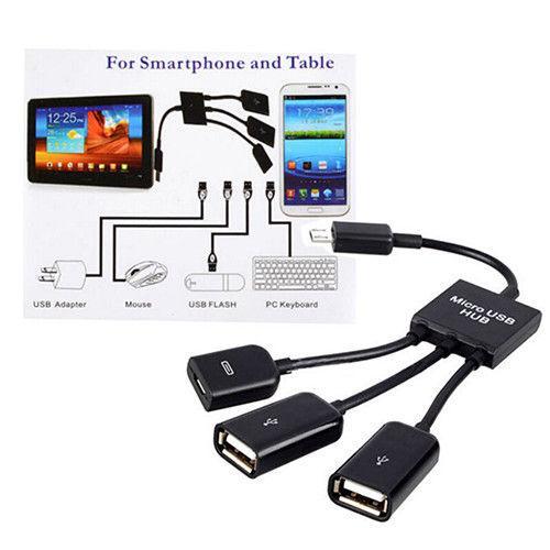 3 в 1 Micro USB HUB мужчин и женщин двойной USB 2.0 хост OTG кабель-адаптер