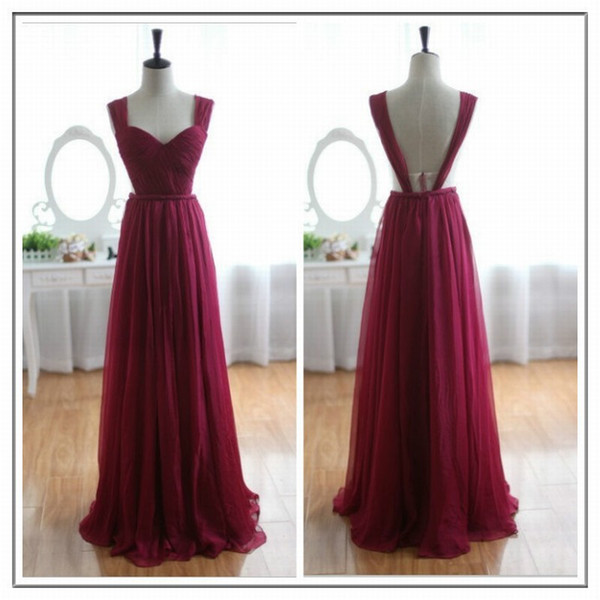 Formal Evening Dresses Women's Wine Red Backless Rfulle Chiffon Bridal Gown Special Occasion Prom Bridesmaid Party Dress 17LF102