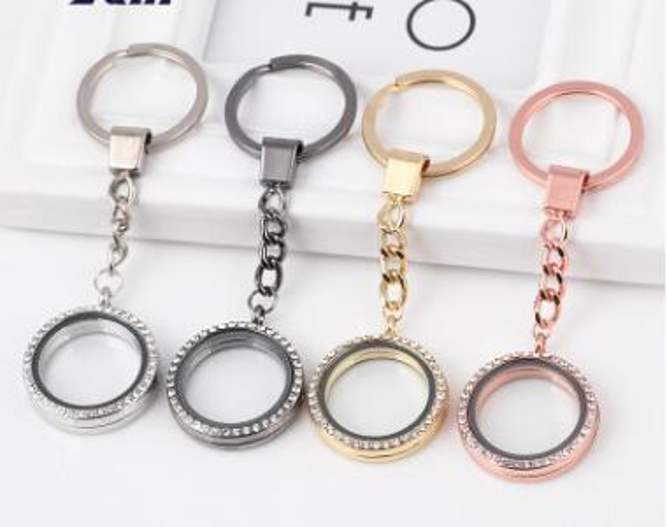 Round Heart Rhinestone Crystal DIY Pendant Floating Charming Locket charms Keychain Keyring Personality Metal Key Chain Ring Gifts