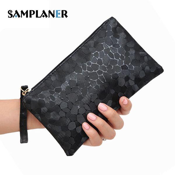 Samplaner Stone Pattern Women Clutch Bags Casual Women's Handbag Mini Hand Bag for Lady Evening Bag Female Wristlet Bags Black