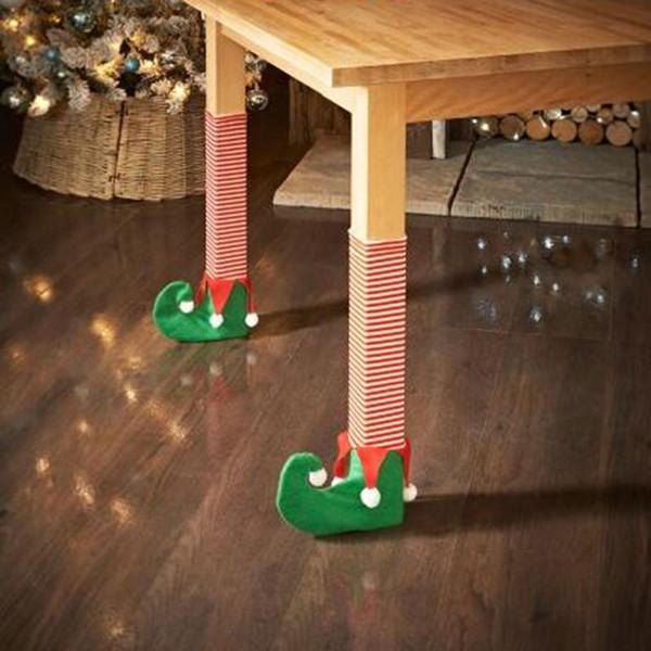 4pcs /Set Santa Claus Leg Chair Foot Covers Lovely Table Decor Christmas Home Decorations Funny Christmas Diy Table Decor Sock