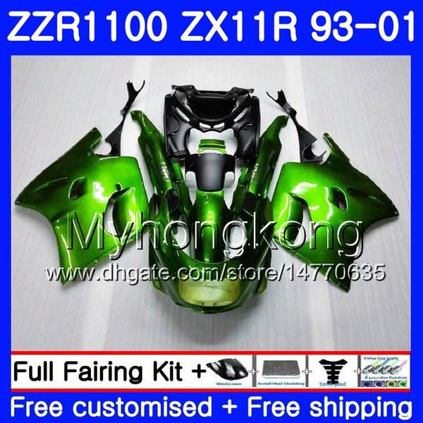 Karosserie Für KAWASAKI NINJA ZX 11R ZX11R 93 94 95 96 97 206HM.24 ZZR 1100 ZX11 R ZZR1100 ZX-11R 1993 1994 1995 1996 Verkleidungen Light green