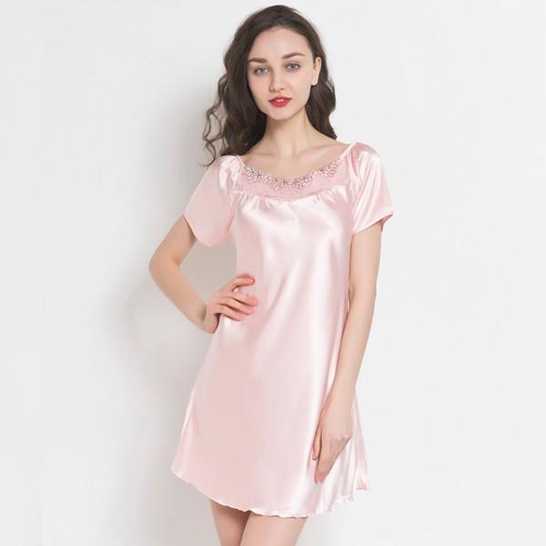 7b77bc0a13d3369 Шелковые атласные ночные рубашки Женщины Шелковое ночное платье Твердая  атласная мантия Сексуальные ремни Кружевные ночные рубашки