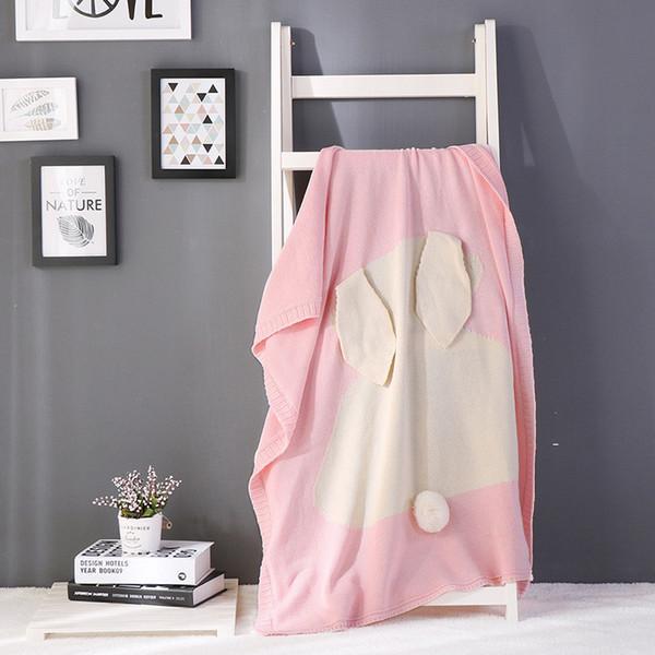 iDouillet weich und süß Baumwolle gestrickte Hase Decke mit Hasenohren für Baby oder Kinder Swaddle Wrap gelb rosa grau