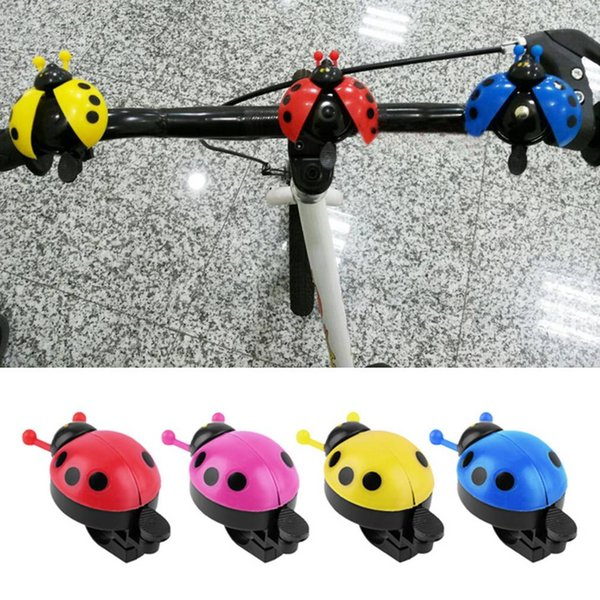 10 pcs/lot Pink Lovely Kid Beetle Ladybug Ring Bell For Cycling Bicycle Bike Ride Horn Alarm
