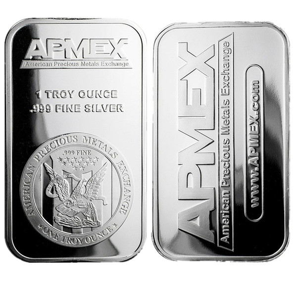 best selling 1 oz Silver Plating Art Bar Series + Fine Apmex Eagle Reverse Silver Bullion Coin Free shipping 5pcs lot 1oz No Magnetic Bar Business Gift