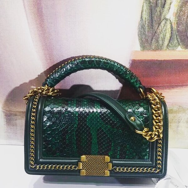 free shipping! 2018 Women's Shoulder Bag ,South Africa imports top class real python skin, can be said to be perfect, with importe