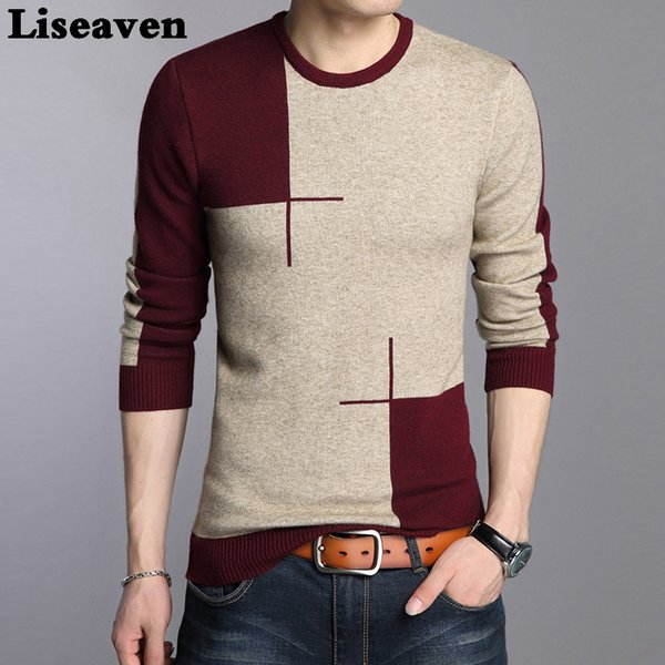 Liseaven Men Casual Pullover Sweater Fashion O Neck Knitwear Long Sleeve Male Pullovers S917