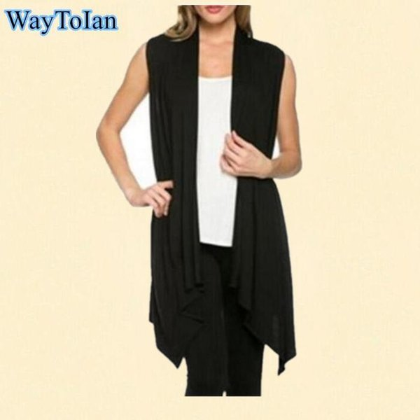WayToIan Vest And Long Sections Knitted Cardigan Sleeveless Casual Dress Women Solid Color Outwear Tops Coat