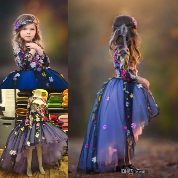 High-Low Fairy Flower Girls Dress Jewel Neck Key-hole Long Sleeve 3D Floral Appliques Toddler Pageant Dresses Lovely Fluffy Communion Dress