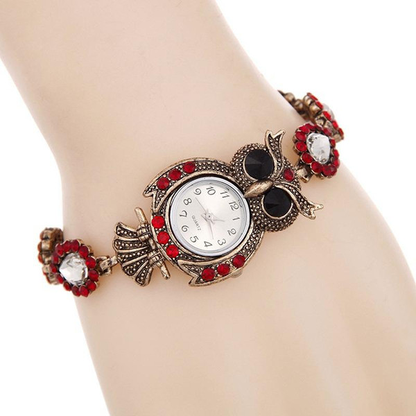 diamond nighthawk Owl Women Fashion watch Retro Blue and red Bracelet Winding bracelet knit Strap Watches Ladies Relogios Bronze Wristwatch