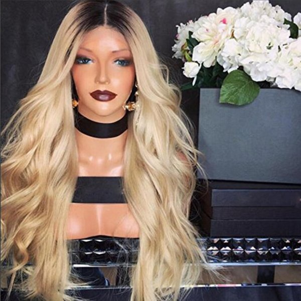 100% Human Hair Full Lace Blonde Wig Ombre Color 1B 613 Two Tone Body Wave Front Lace Wigs Dark Root With Baby Hair