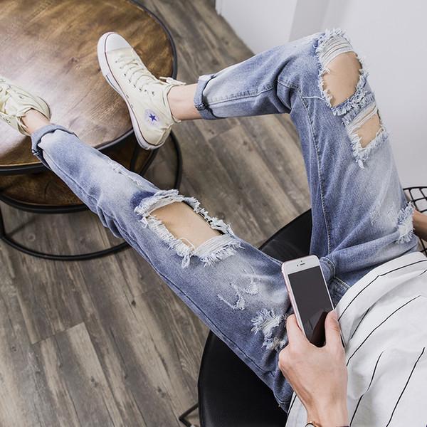 Herrenmode lässig neun Jeans Hohe Qualität Loch Jeans Männer Füße wilde Persönlichkeit Hosen kratzen Trend Trend Knie großes Loch