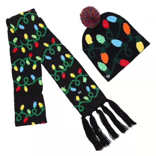 Christmas Hats, Adults, Colored Ball Caps, Scarves, Children's Two-piece Suits, Christmas Halloween LED Lamps, Cheap Handwoven Hats, Wholesa