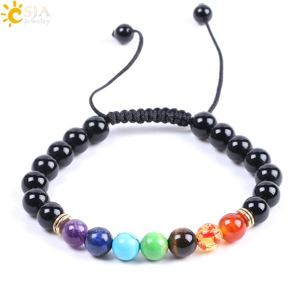 CSJA 7 Chakra Yoga Meditation Bracelets 8mm Black Onyx Braided Adjustable Men Bracelet Colorful Natural Stone Beads Handmade Jewelry F087