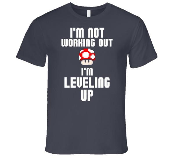 No estoy trabajando Estoy subiendo de nivel Mushroom 1UP Entrenamiento Fitness Gym Camiseta Nueva llegada Hombre Camisetas Casual Boy Camiseta Tops Descuentos