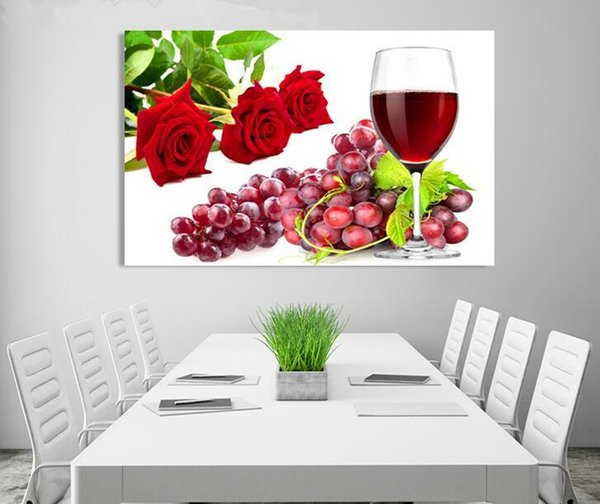 1 Pc Modern Restaurant Picture Wall Art Painting Still Life Fruit Rose Canvas Concise Printings Print Picture Home Room Decor