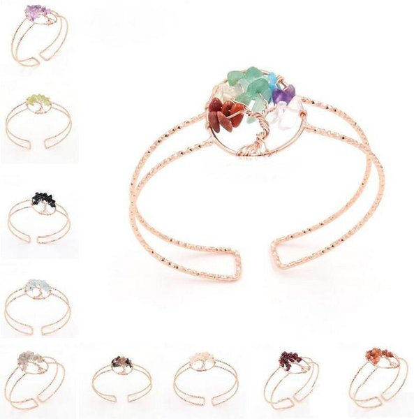 Women Rainbow 7 Chakra Amethyst Tree Of Life Quartz Chips Bracelets Multicolor Wisdom Tree Natural Stone Crystal Open Adjustable Bangle